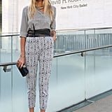 Jessica Hart mixed prints like a pro while on her way into Lincoln Center.