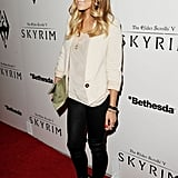 LC paired a white blazer and leather leggings for her red carpet appearance.