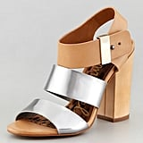 We love the contrast of the neutral leather and slick silver — plus, a chunky heel that would make these a walkable option for a Summer wedding.  Sam Edelman Yelen Sandal ($140)