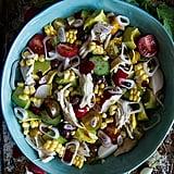 Chicken, Corn, Avocado, and Cucumber Salad With Garlic Honey Vinaigrette