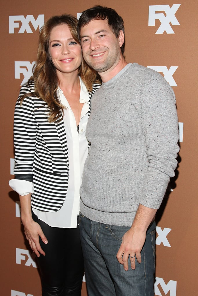 Mark Duplass hugged his wife, Katie Aselton, on the red carpet.