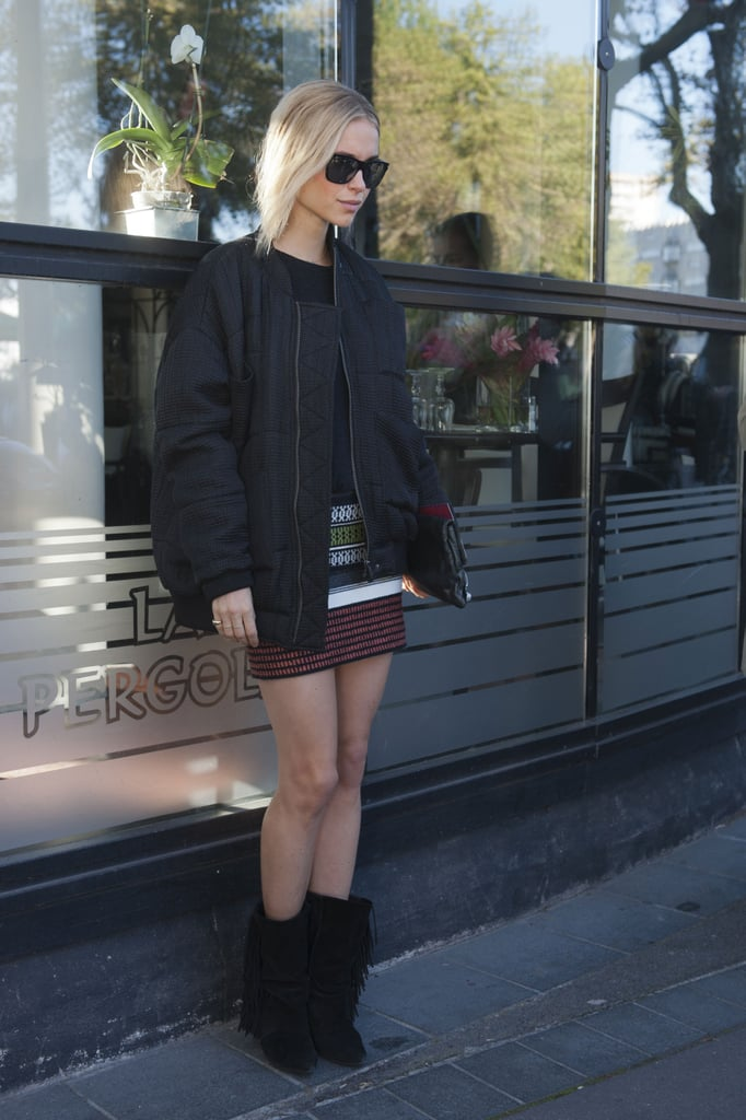 How very Isabel Marant of you: fringed booties and a knit mini collide in this cool-girl look.
