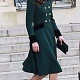 Fresh from the St. Patrick's Day parade in London, Kate Middleton arrived in Paris in this Catherine Walker coat dress on Friday.