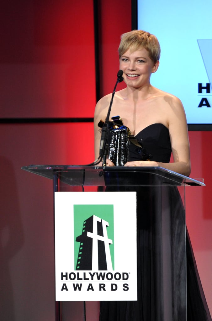 Michelle Williams gave an acceptance speech at the 15th Annual Hollywood Film Awards.