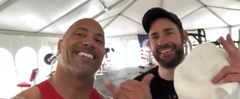 John Krasinski Talks Working Out With Dwayne Johnson