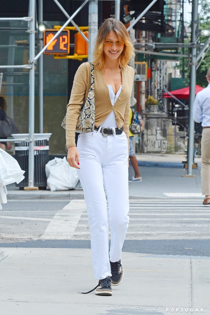 Bella Hadid's White Jeans Outfit For Cheap 2019