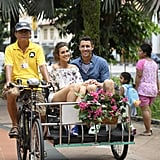 Then Came Singapore! The Cute Couple Saw the Sights in a Trishaw . . .