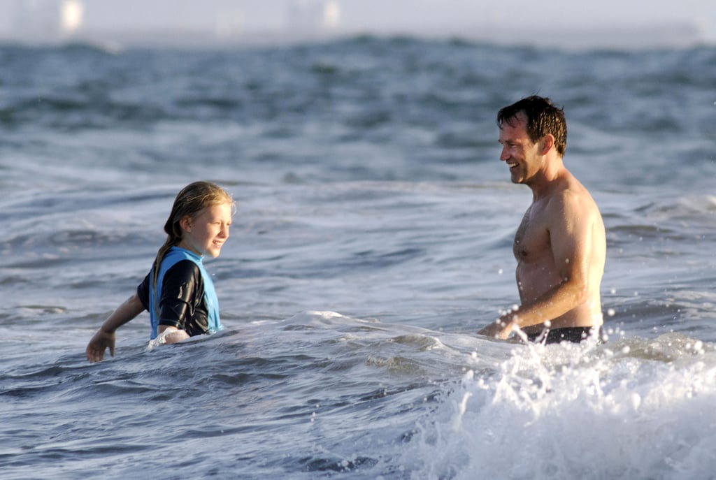 Stephen Moyer and Lilac Moyer spent some time together swimming.