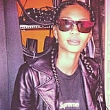 Chanel Iman sported a Supreme tee, leather jacket, and awesome shades. Source: Instagram user chaneliman