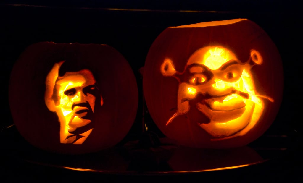 Shrek and Gordon Brown Pumpkins