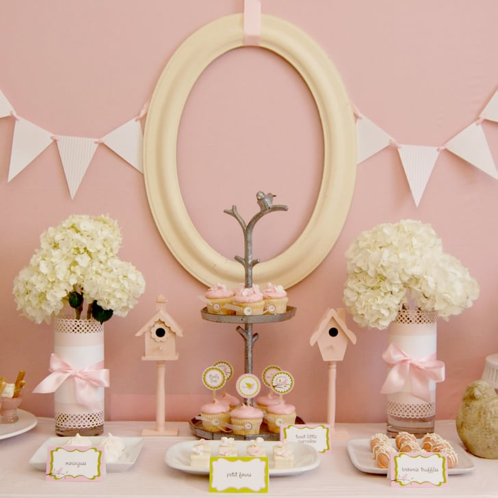 Pink bird themed baby shower popsugar moms for Bird themed bathroom accessories