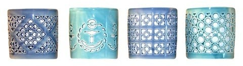 Blue Ceramic Votive Candleholders ($18 for set of 4)