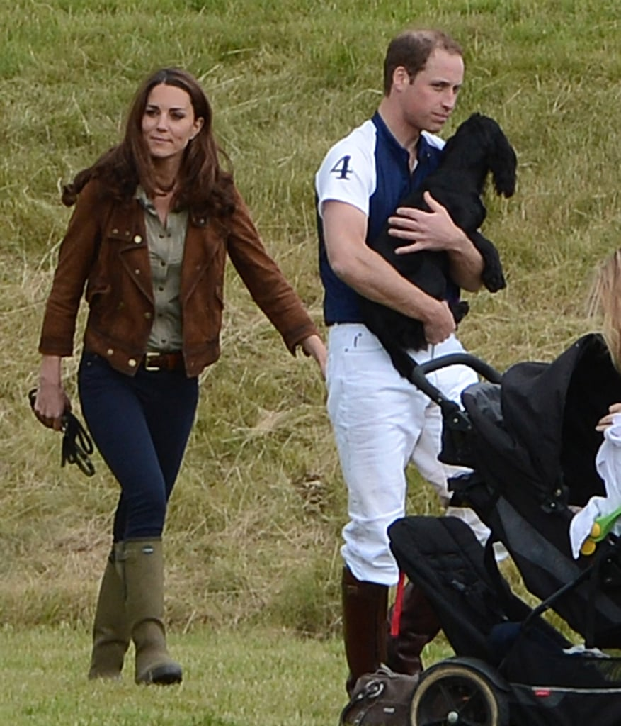 Kate Middleton brought her dog Lupo along to watch Prince William play polo at the Beaufort Polo Club in the UK yesterday. William picked up the dog and gave him a sweet kiss when he was finished with his match. It was the second day of the sport for William, who also participated in a charity game with his brother Prince Harry on Saturday. Kate had a busy weekend herself, kicking things off on Friday at a performance of The Lion, The Witch, and The Wardrobe. She made another public appearance alongside the royal family at the Trooping the Colour ceremony Saturday morning and yesterday morning met up with a group of children at a camp.