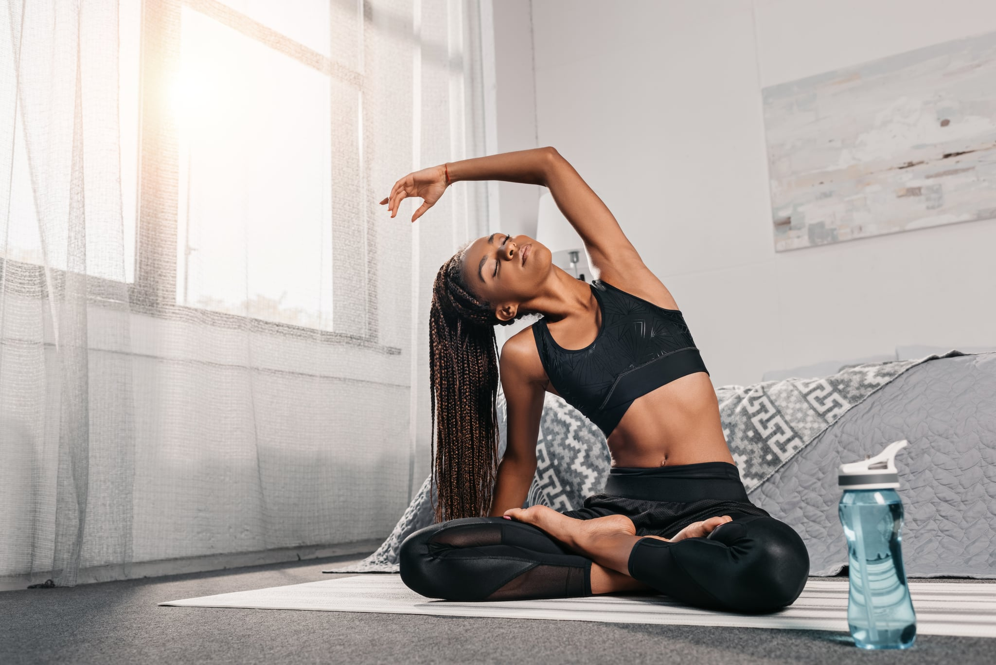 woman stretching to focus