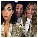 "It's common knowledge that Kim Kardashian, Chrissy Teigen, and John Legend are friends, but we didn't expect this reaction to Beck beating Beyoncé in the album of the year category at the 2015 Grammys. ""This is the Beck won that award face?!?!?!"" Kim captioned the moment."