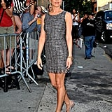 Jennifer looked prim and pretty in this tweed minidress and cool gray suede pumps.