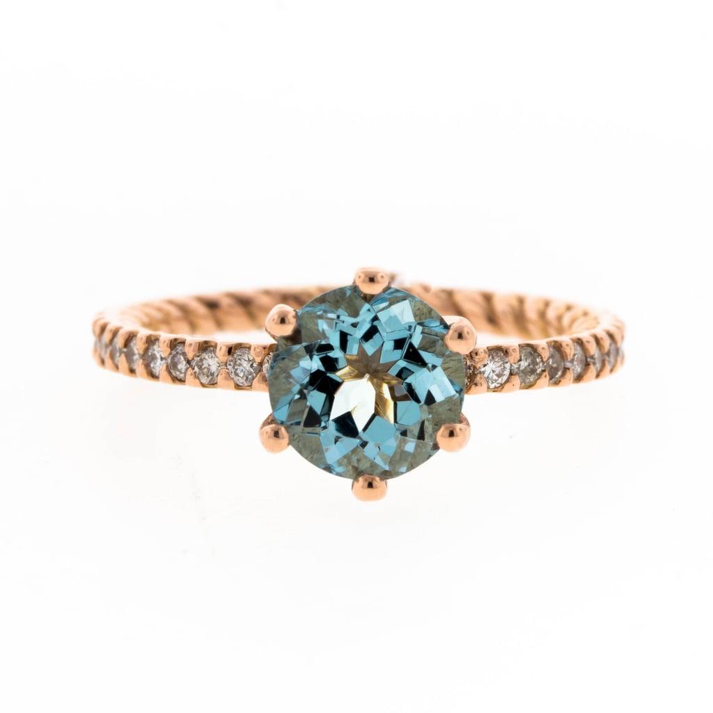 Concierge Diamonds Rose Gold & Aquamarine Engagement Ring