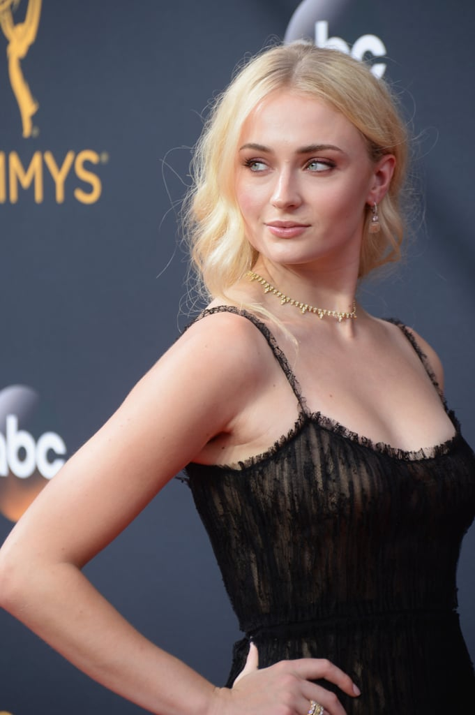 Sophie Turner Low Plaited Hair at the Emmys 2016