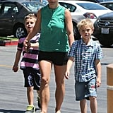 Britney Spears took her boys, Sean and Jaden, shopping at Toys R Us on Saturday in LA.