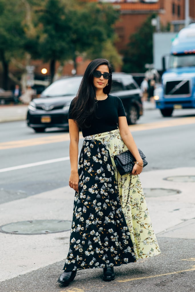 Top a romantic maxi with a simple tee — what could be easier and more eye-catching?