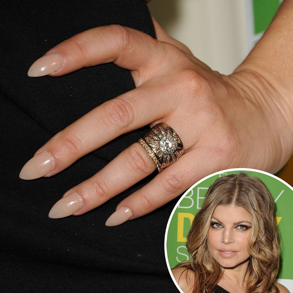 Fergie's nude manicure was far from boring at the The Beauty Detox Solution launch party in 2011. The extreme almond shape gave the appearance of claws.