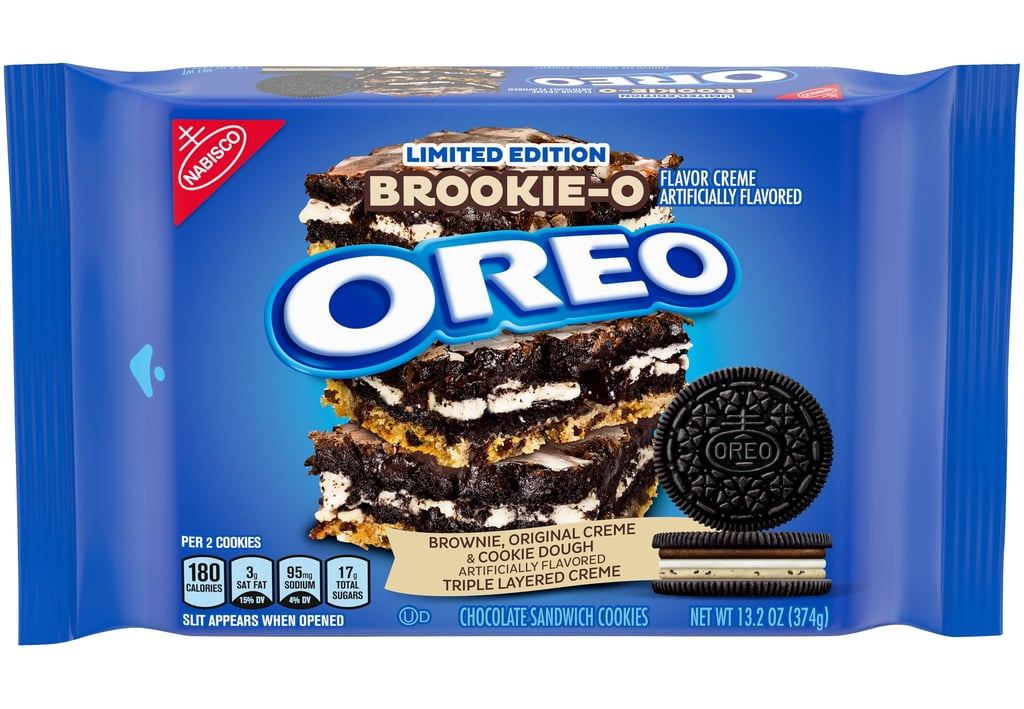 "It looks like 2021 is already off to a great start, 'cause Oreo is officially ringing in the new year with a limited-edition Brookie-O flavor. If you have yet to bless your taste buds with a Brookie, it's a half-brownie, half-cookie hybrid that essentially combines the best of the two desserts. Imagine Oreo's classic creme filling thrown into the sweet mix, and you have your Brookie-O Oreos, which hit shelves in January. Unlike most Oreos, the newest flavor has three whole creme layers, including cookie dough, brownie, and the original Oreo stuf. Instagram user @junkfoodleaks_, who got an early taste of the Brookie-O, described it as a ""powerful cookie"" that ""packs a punch of a number of flavors in one."" He continued, ""it might be one of the most balanced flavor profiles in a mashup like this."" If you're like me and drooling just reading about the cookie, make sure to keep an eye out come January, wherever you regularly buy your traditional Oreos. The company already has some exciting roll-outs planned for next month, including new chocolate hazelnut, java chip, and gluten-free Oreos that are permanently joining the brand's lineup. The Brookie-O Oreos, on the other hand, are only available for a limited time and in the US, so be sure to get your hands on a pack while supplies last. Take a closer look at the newest Oreo flavor ahead."