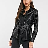 Stradivarius Faux Leather Shirt With Tie Waist