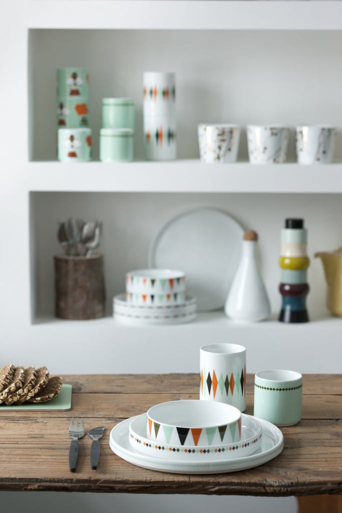 This Dinner Set From Denmark ($22 per piece and up) features triangular bunting on porcelain.