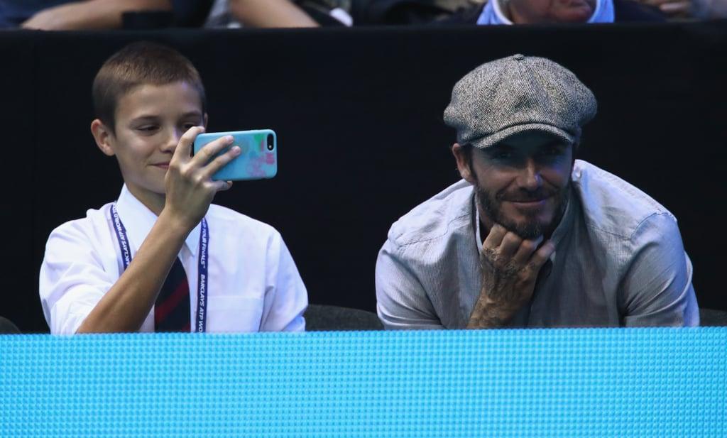 David and Romeo Beckham at the ATP World Tour Finals