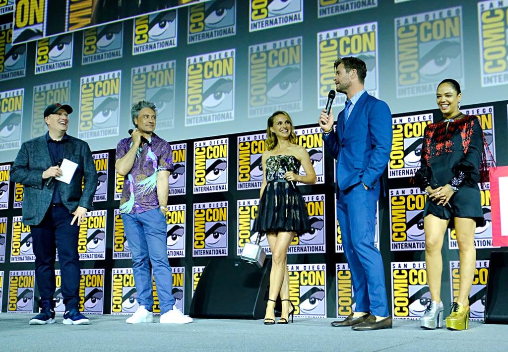 Pictured: Kevin Feige, Taika Waititi, Natalie Portman, Chris Hemsworth, and Tessa Thompson at San Diego Comic-Con.