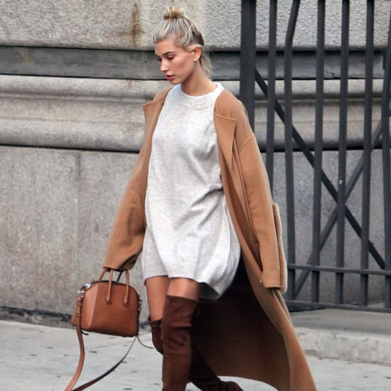 Hailey Baldwin Wearing a Sweater Dress Shop Online 2016