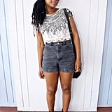 Bold add-ons were all she needed to dress up cutoffs.