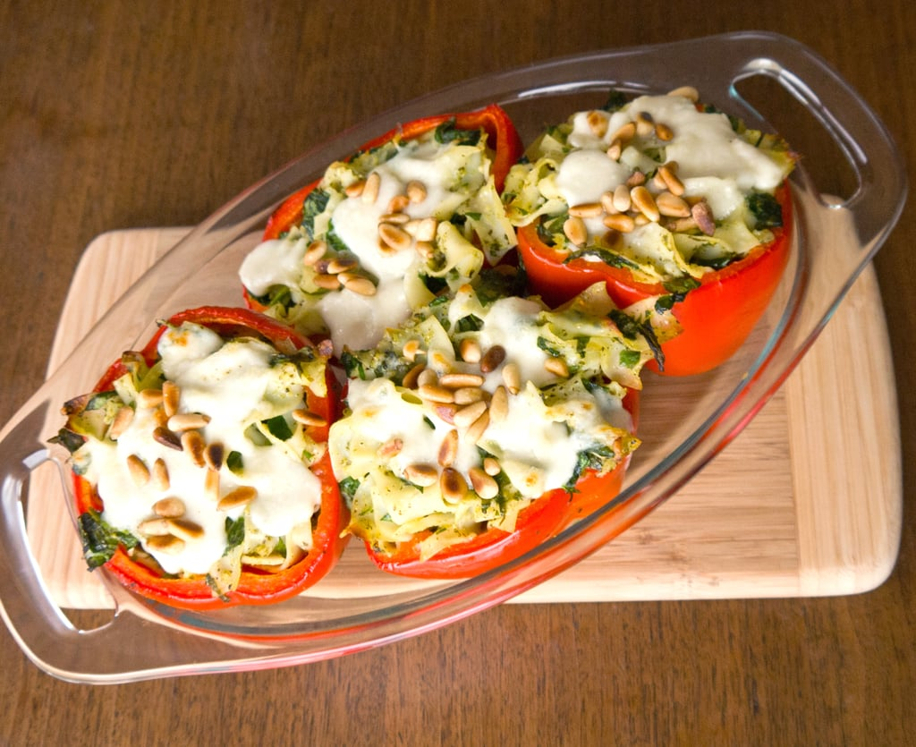 Pesto Stuffed Red Peppers
