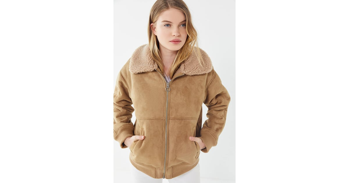 b709371cef2 UO Faux Suede Sherpa Bomber Jacket | Best Spring Jackets | POPSUGAR Fashion  Photo 15