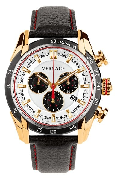 The Men's Versace V-Ray Chronograph Leather Strap Watch ($1,995) is for an eccentric type that loves a touch of luxury.