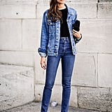 With a denim jacket and luxe heels