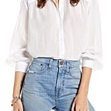 Something Navy Sheer Button-Up Shirt