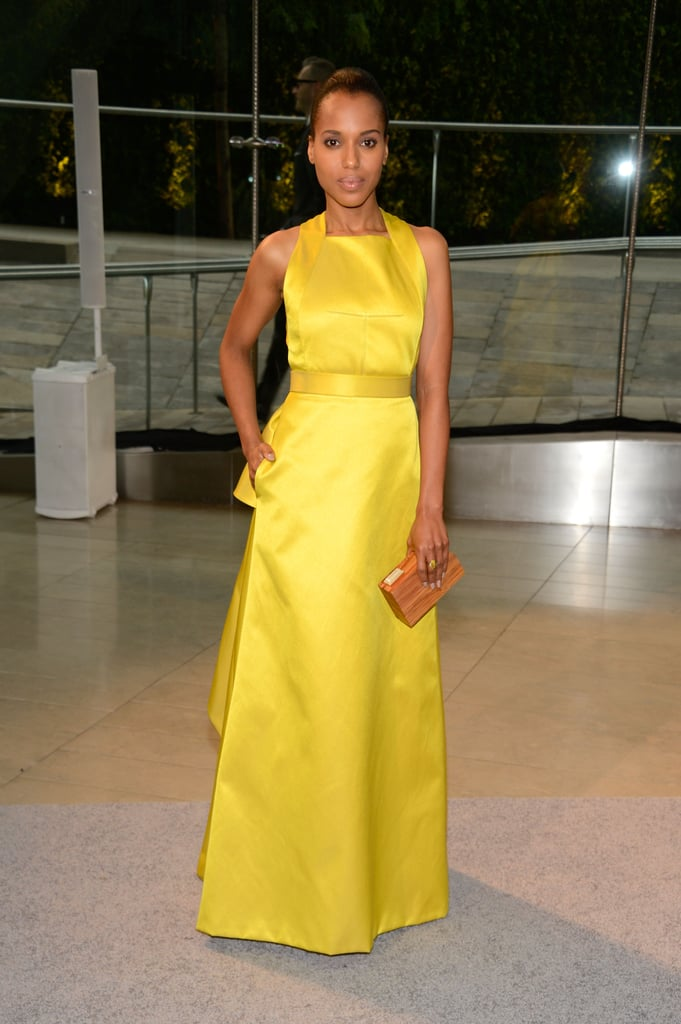 Kerry Washington wore a bright yellow gown on the CFDA Fashion Awards red carpet.