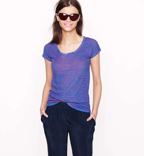 Nothing like a slouchy, worn in to perfection striped tee — the classic design and relaxed fit will certainly stand the test of time. J.Crew Vintage Cotton Cap-Sleeve Tee in Stripe ($35)