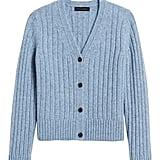 Merino-Blend Boxy Cropped Cardigan Sweater