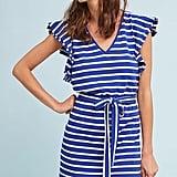 Anthropologie Flutter-Sleeve Striped Dress
