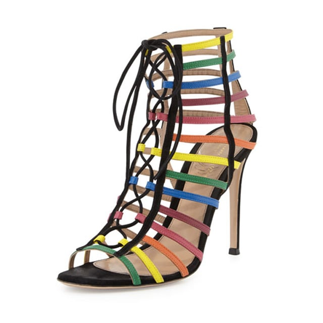 Gianvito Rossi x Mary Katrantzou Rainbow Strappy Suede Caged Sandals  ($1,295)
