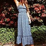 UO Ophelia Ruffle Hem Midi Dress
