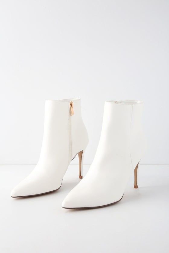 Lulu's Selenah White Pointed Toe Ankle Booties