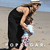 Rachel Zoe hit the sand in Malibu with Skyler during a July visit.