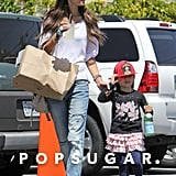 Alessandra Ambrosio held her daughter's hand as they made their way through a parking lot.