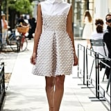 We could easily see her in this collared mini, worn with a textured clutch and her signature wedges.  Lela Rose Spring 2017