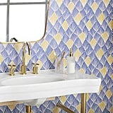 Blue and Yellow Art Deco Fan Peel-and-Stick Wallpaper