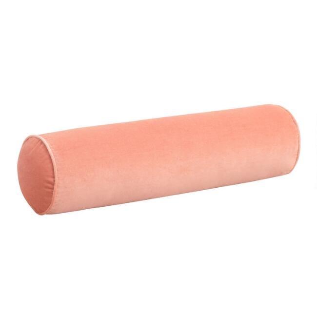 Salmon Pink Velvet Bolster Pillow