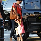 Katie Holmes brought Suri Cruise to a gymnastic class.